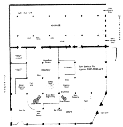 A diagram rendering of the planned roasting facility inside a former Volvo dealership and art supply store