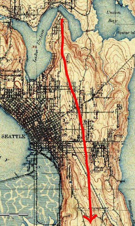 Topographic Map Seattle 1894 Seattle Topographic map with illustration of ridge | CHS